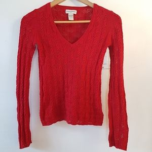 Banana Republic Cable & Lace V-neck Knit in Red